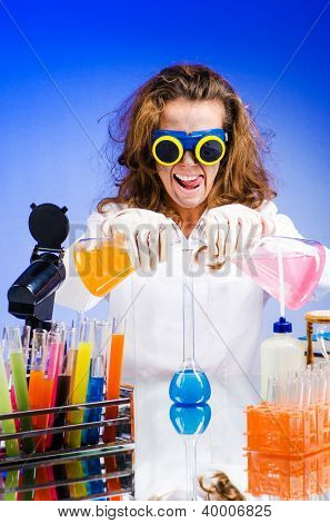 Funny female chemist in lab