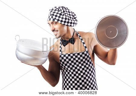 Sexy male cook isolated on the white