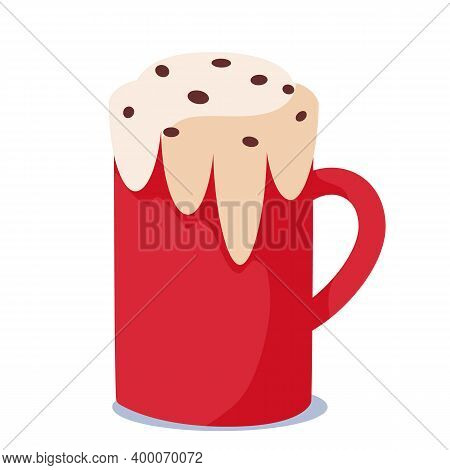 Red Mug Of Coffee For The Holiday Of Christmas. Christmas Mugs Of Hot Chocolate Or Winter Cups Of Ca