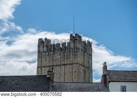 Richmond, North Yorkshire, Uk - August 1, 2020: A View Of Richmond Castle Against A Bright Blue Clou