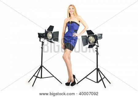 Attrative woman in photo studio
