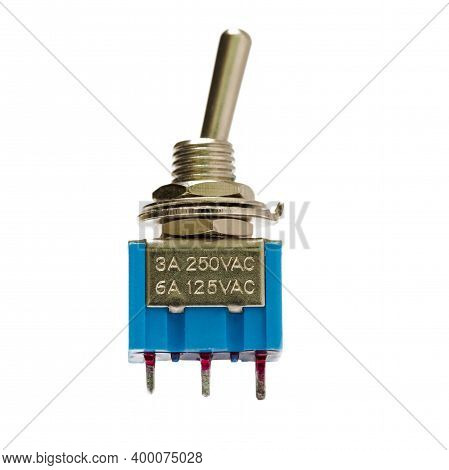 Closeup Image Of Two-positional Toggle Switch Placed On White Background