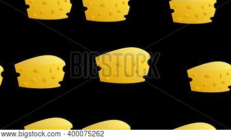 Cheese Seamless Pattern With Silhouette Icons. Vector Background, Illustrations Of Parmesan, Mozzare