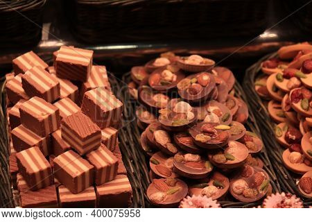 Chocolate Pralines With Nuts At A Market In Barcelona, Spain
