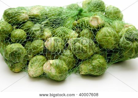 Green Brussels sprouts in Net