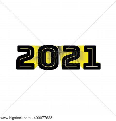 2021 Black Yellow Year Symbol On Transparent Background