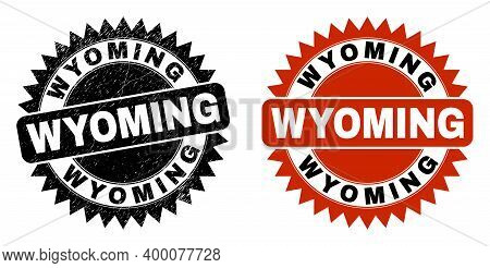 Black Rosette Wyoming Seal Stamp. Flat Vector Scratched Seal With Wyoming Message Inside Sharp Roset