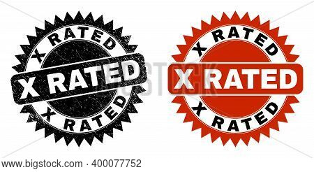 Black Rosette X Rated Watermark. Flat Vector Textured Watermark With X Rated Message Inside Sharp Ro