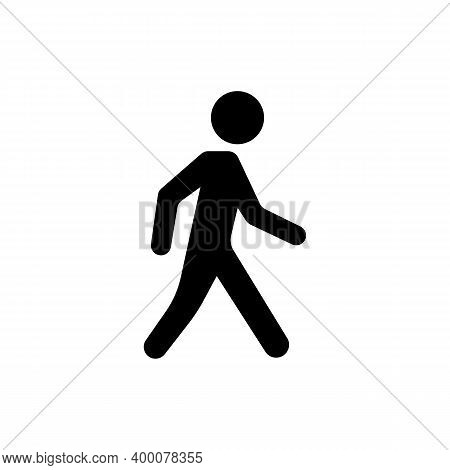 Walking Man Black Icon Isolated. Pedestrian Symbol. Get To Your Destination On Foot Concept. Vector