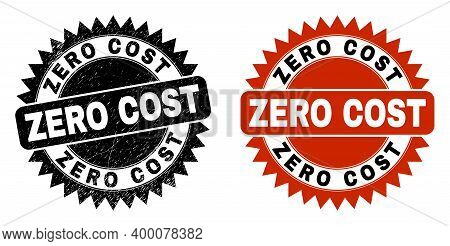 Black Rosette Zero Cost Seal Stamp. Flat Vector Scratched Seal With Zero Cost Title Inside Sharp Ros
