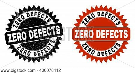Black Rosette Zero Defects Stamp. Flat Vector Grunge Seal Stamp With Zero Defects Text Inside Sharp