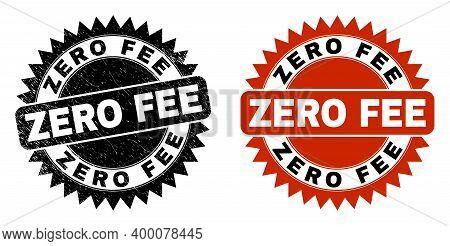 Black Rosette Zero Fee Seal. Flat Vector Distress Watermark With Zero Fee Message Inside Sharp Roset