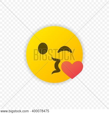 Kissing Emoticon With Heart Icon Isolated. Kissing Emoji Symbol. Vector Eps 10