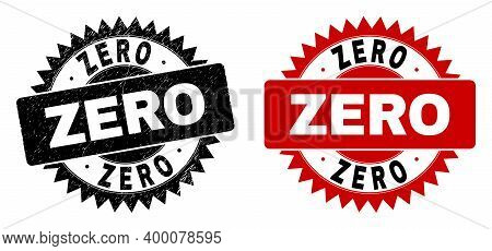 Black Rosette Zero Seal Stamp. Flat Vector Textured Seal Stamp With Zero Caption Inside Sharp Rosett
