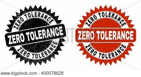 Black Rosette Zero Tolerance Seal Stamp. Flat Vector Grunge Seal Stamp With Zero Tolerance Message I