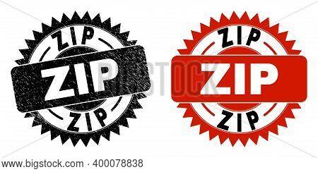 Black Rosette Zip Seal Stamp. Flat Vector Distress Seal Stamp With Zip Message Inside Sharp Rosette,