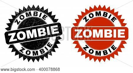 Black Rosette Zombie Seal Stamp. Flat Vector Scratched Seal Stamp With Zombie Text Inside Sharp Rose