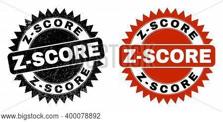 Black Rosette Z-score Seal. Flat Vector Textured Seal Stamp With Z-score Message Inside Sharp Rosett