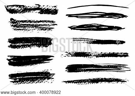Set Of Isolated Black Textured Grunge Brush Strokes. Dirty Hand Drawn Inky Lines And Blobs For Graph