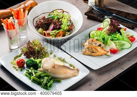 Set Of Diet Dishes. Assortment Of Food Set Diet Dish Lunch On A Table. Paleo, Keto, Fodmap, Dash Die