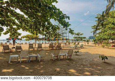 Beautiful tropical beach with  sea view, clean water and blue sky. Nai Yang beach. Phuket. Thailand