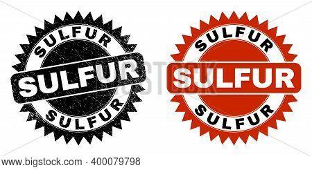 Black Rosette Sulfur Seal. Flat Vector Grunge Seal Stamp With Sulfur Text Inside Sharp Rosette, And