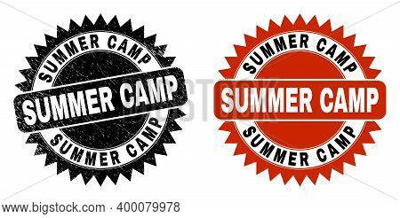Black Rosette Summer Camp Seal. Flat Vector Textured Seal With Summer Camp Phrase Inside Sharp Roset