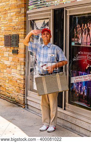 Savannah, Georgia Usa - September 10 2019: Artist As Forrest Gump On The Streets Of Savannah, Georgi