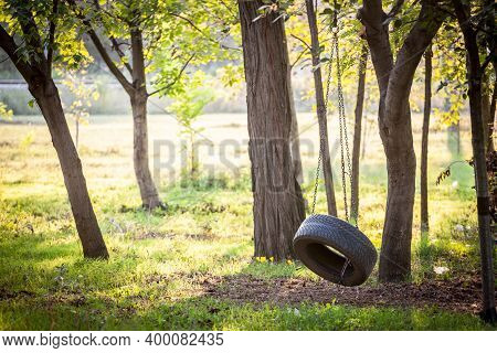 Old Tyre Swing Hanging With A Chain In A Wood In Summer Or Autumn In A Kids Playground. This Swing I