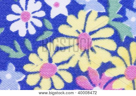 Blue Floral Fabric Texture