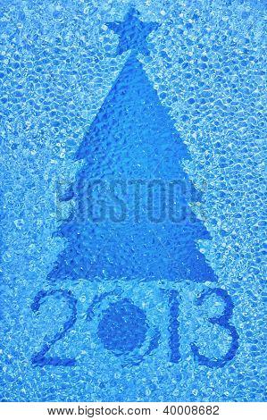 Christmas Tree Crystal Blue Background