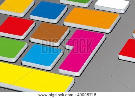 vector illustration of funny colored keyboard keys