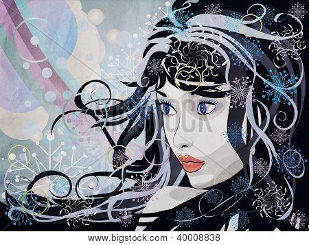 Abstract Grunge Winter Girl