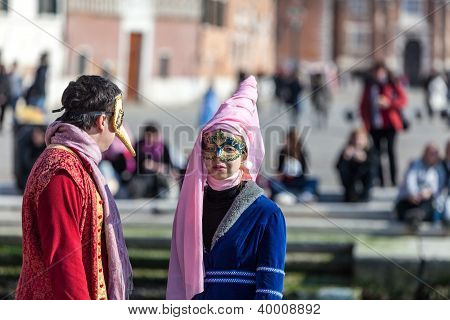 Disguised Couple In Venice