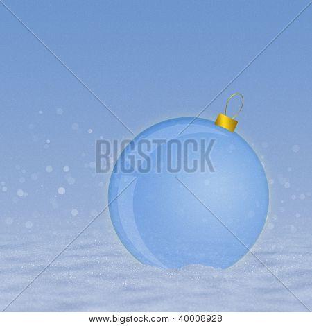Blue Ball On Snow