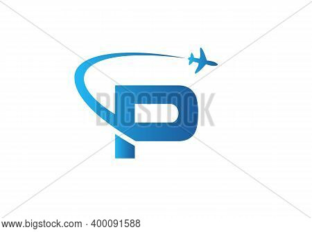 Air Travel Logo Design With P Letter. P Letter Concept Air Plane And Travel Logo.