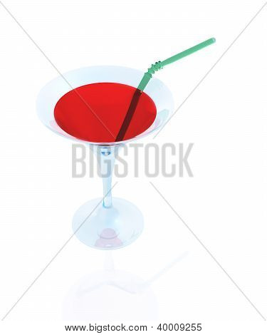 A Glass Of Red And A Straw