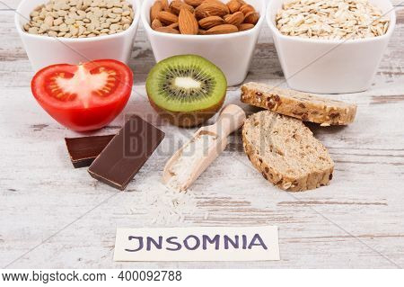 Healthy Nutritious Eating As Source Melatonin And Tryptophan. Best Food For Insomnia Problems Concep