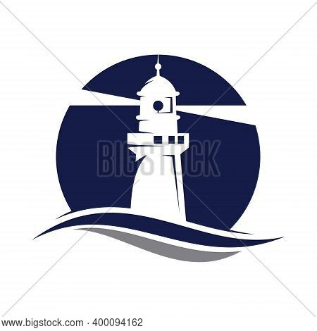 Lighthouse Badges. Nautical Marine Travel Business Logos Vector Collection. Lighthouse Tower Near Co