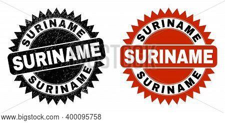 Black Rosette Suriname Seal Stamp. Flat Vector Grunge Stamp With Suriname Title Inside Sharp Rosette