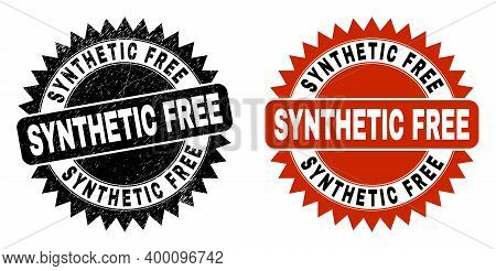 Black Rosette Synthetic Free Seal. Flat Vector Scratched Seal With Synthetic Free Message Inside Sha