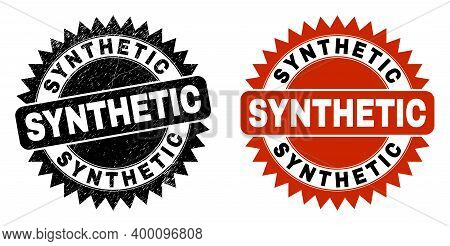 Black Rosette Synthetic Seal Stamp. Flat Vector Grunge Seal With Synthetic Title Inside Sharp Rosett