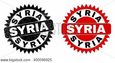 Black Rosette Syria Seal. Flat Vector Distress Seal Stamp With Syria Title Inside Sharp Rosette, And