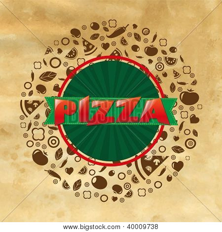 Vintage Pizza Poster With Gradient Mesh, Vector Illustration