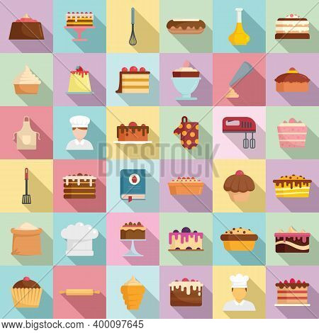 Confectioner Icons Set. Flat Set Of Confectioner Vector Icons For Web Design
