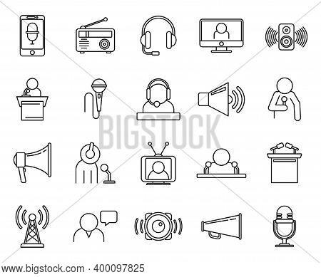 Speaker Announcer Icons Set. Outline Set Of Speaker Announcer Vector Icons For Web Design Isolated O