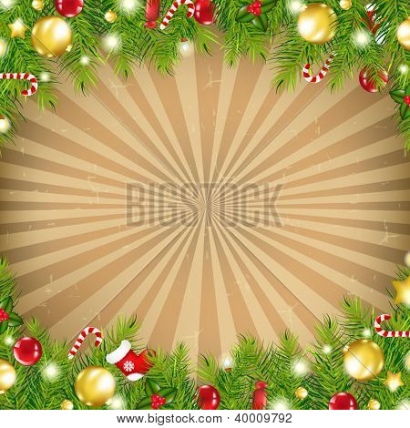 Christmas Vintage Border With Old Sunburst With Gradient Mesh, Vector Illustration