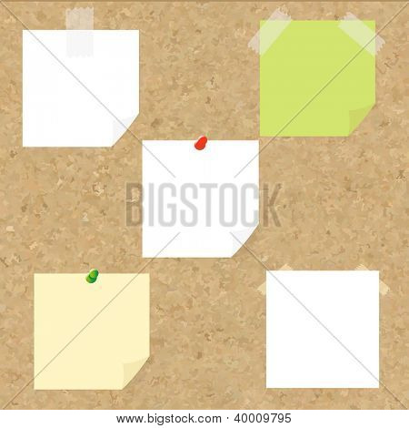 Cork Texture With Blank Note Tag With Gradient Mesh, Vector Illustration