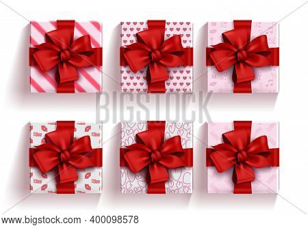 Valentine's Gifts Vector Set. Valentine's Day Gift Elements With Red Ribbon Isolated In White Backgr