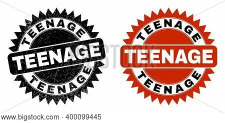 Black Rosette Teenage Stamp. Flat Vector Scratched Seal Stamp With Teenage Text Inside Sharp Rosette